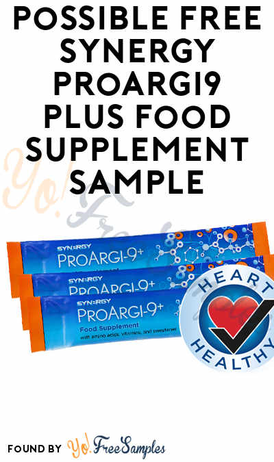 Free Synergy Proargi Food Supplement Sample Verified Received By