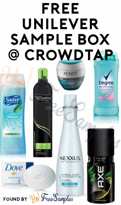 FREE Dove, Axe, Nexxus, TRESemme, Degree, Pond's & Suave Unilever Sample Box From CrowdTap (Mission Required) [Verified Received By Mail]