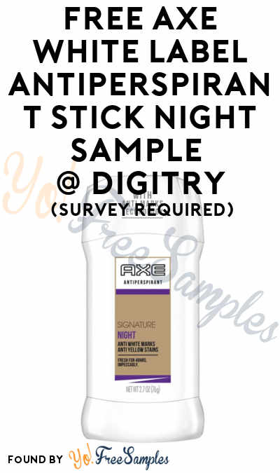 FREE Axe White Label Antiperspirant Stick Night Sample To Review At Digitry (Survey Required)