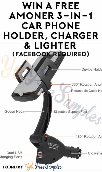 ENDS TOMORROW: Win A FREE Amoner 3-in-1 Car Phone Holder, Charger & Lighter (Facebook Required)