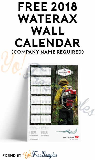 FREE 2018 Waterax Wall Calendar (Company Name Required)