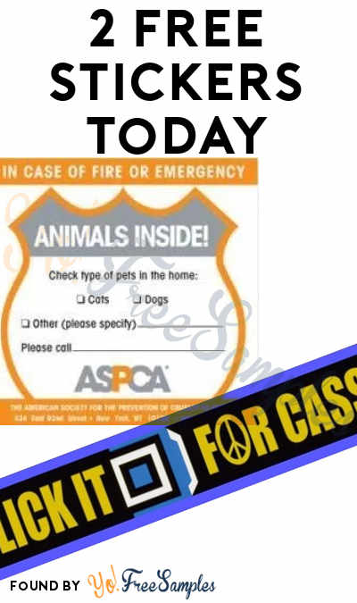 2 FREE Stickers Today: Click It For Cassie Bumper Stickers & ASPCA Animals Inside Sticker