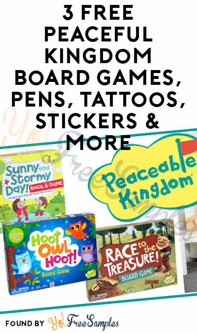 3 FREE Peaceful Kingdom Board Games, Pens, Tattoos, Stickers & More (Must Apply To Host Tryazon Party)