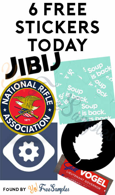 6 FREE Stickers Today: Phabricator Stickers, Black Birch Grinders Sticker, NRA Decal, Soup Is Back Sticker, JIBIJ Sticker & Jill Vogel Bumper Sticker