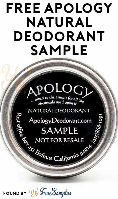 FREE Apology Natural Deodorant Sample [Verified Received By Mail]