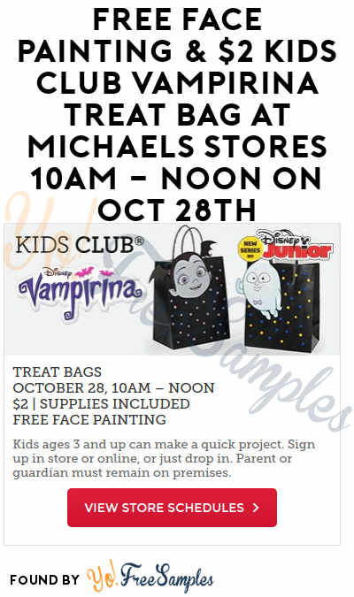 FREE Face Painting & $2 Kids Club Vampirina Treat Bag At Michaels Stores 10AM – Noon On Oct 28th