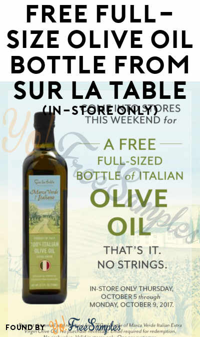 Free full size olive oil bottle from sur la table in for Sur la table food scale