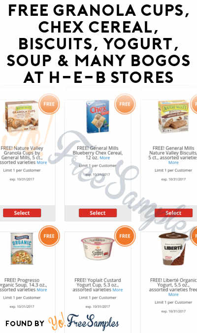 FREE Granola Cups, Chex Cereal, Biscuits, Yogurt, Soup & Many BOGOs At H-E-B Stores