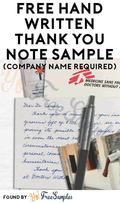 FREE Hand Written Thank You Note Sample (Company Name Required)