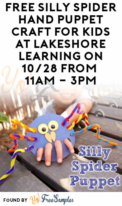 FREE Silly Spider Hand Puppet Craft For Kids At Lakeshore Learning On 10/28 From 11AM – 3PM
