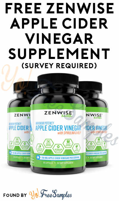 FREE Zenwise Apple Cider Vinegar Supplement (Survey Required)