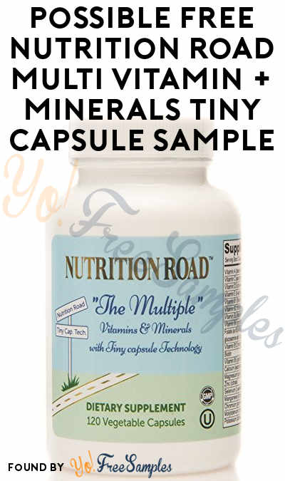 Possible FREE Nutrition Road Multi Vitamin + Minerals Tiny Capsule Sample