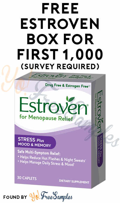 FREE Estroven Box For First 1,000 (Survey Required) [Verified Received By Mail]