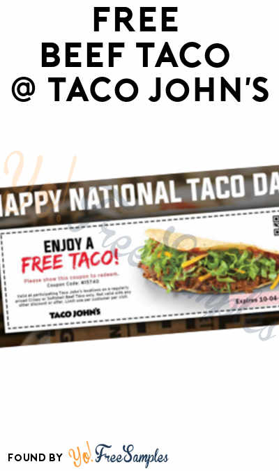 TODAY (10/4) ONLY: FREE Beef Taco At Taco John's