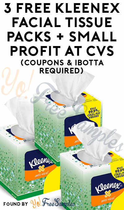 3 FREE Kleenex Facial Tissue Packs + Small Profit At CVS (Coupons & Ibotta Required)