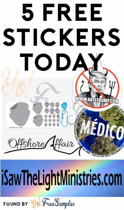 5 FREE Stickers Today: Offshore Affair Sticker, Custom My Sticker Face Sticker Sheet, Medico Apparel Sticker, AntiTrump Sticker & I Saw The Light Ministries Bumper Sticker