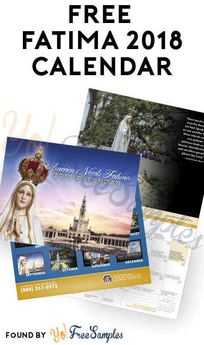 FREE Fatima 2018 Calendar [Verified Received By Mail]
