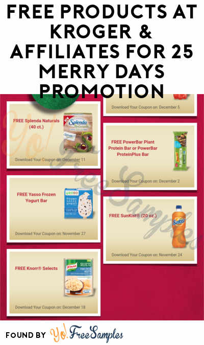 TODAY: FREE Knorr Selects + More FREE Products Ahead At Kroger & Affiliates For 25 Merry Days Promotion