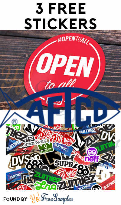 3 FREE Stickers: Open To All Sticker, AFTCO Stickers & Zumiez Stickers