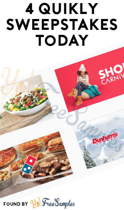 4 Quikly Sweepstakes Today: Win FREE Prizes From Quiznos, Shoe Carnival, Domino's & Dunham's (Mobile Number Required)