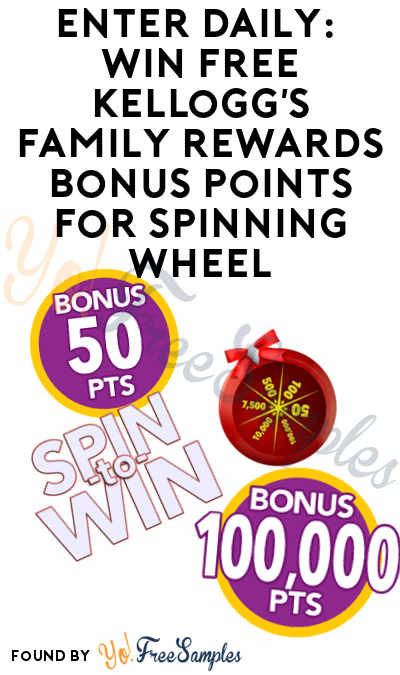 Enter Daily: Win FREE Kellogg's Family Rewards Bonus Points For Spinning Wheel