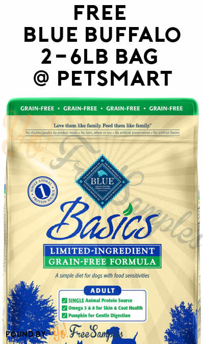 picture about Blue Buffalo Dog Food Coupons Printable titled Finishes 12/18: Totally free Blue Buffalo 2-6LB Bag At PetSmart With
