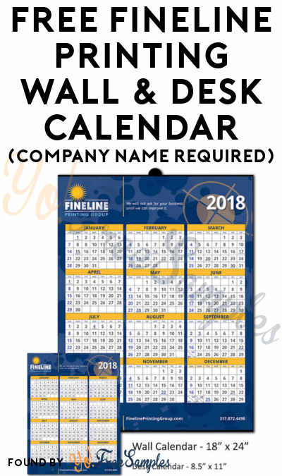FREE Fineline Printing Wall & Desk Calendar (Company Name Required)