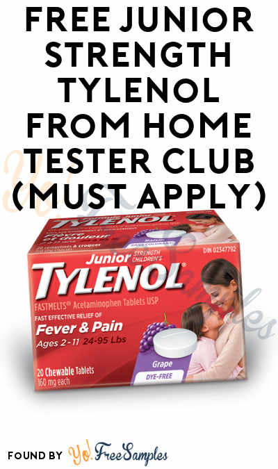 FREE Junior Strength Tylenol From Home Tester Club (Must Apply)