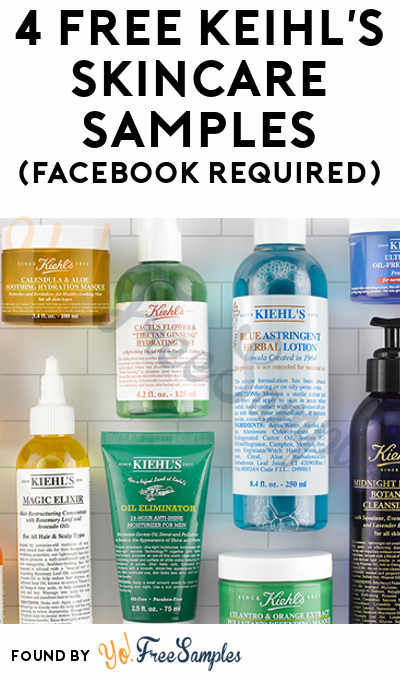 4 FREE Kiehl's Skincare Samples (Facebook Required)