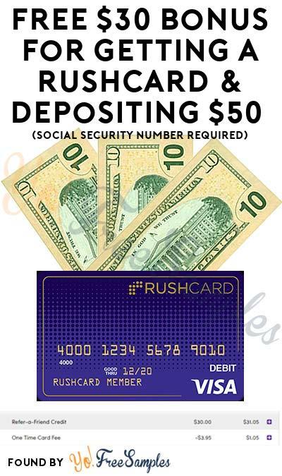 FREE $30+ Bonus For Getting A RushCard & Depositing $50 (Social