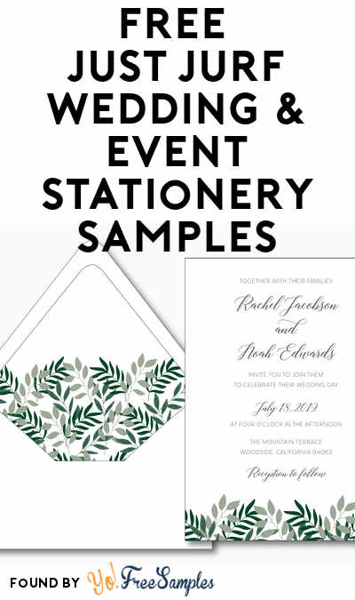 FREE Just Jurf Wedding & Event Stationery Samples