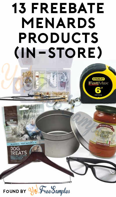 13 FREEBATE Menards Paint Brushes, Roller Shades, Picture Hanging Kit, L-Wrenches, Safety Glasses, Tape Measure, Tool Shop Metal Jar, Wiper Blades, Pasta Sauce, Dog Treats & More In-Store