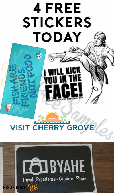 "4 FREE Stickers Today: ""I Will Kick You In The Face!"" Sticker, Byahe Stickers, Visit Cherry Grove Beach Sticker & PETA Kids Fish Sticker"