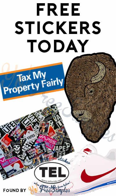5 FREE Stickers Today: Bison Sticker, Tax My Property Fairly Bumper Sticker, Brandon Bair Sticker, Vape Streetwear Sticker & TEL Sticker