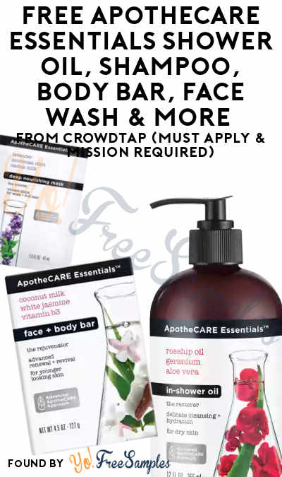 FREE ApotheCARE Essentials Shower Oil, Shampoo, Body Bar, Face Wash & More From CrowdTap (Must Apply & Mission Required)