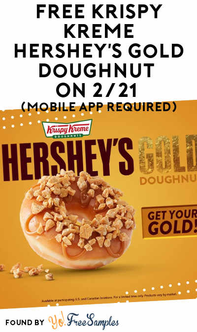 TODAY ONLY: FREE Krispy Kreme Hershey's Gold Doughnut On 2/21 (Mobile App Required)