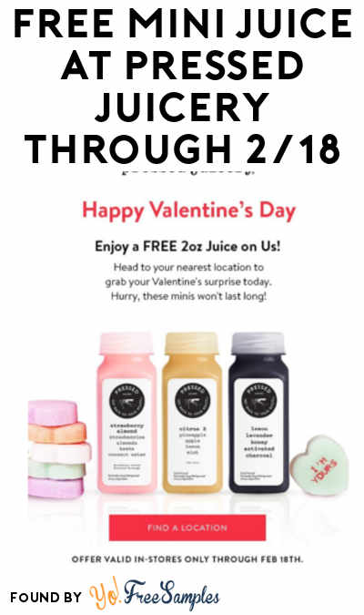 FREE Mini Juice At Pressed Juicery Through 2/18