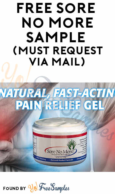 FREE Sore No More Sample (Must Request Via Mail)