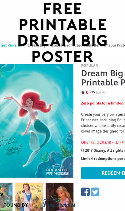 FREE Dream Big Princess Personalized Character Printable Poster