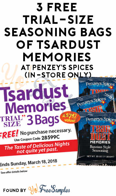 3 FREE Trial-Size Seasoning Bags of Tsardust Memories At Penzey's Spices (In-Store Only)