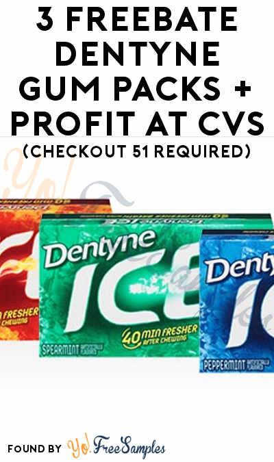 3 FREEBATE Dentyne Gum Packs + Profit At CVS (Checkout 51 Required)