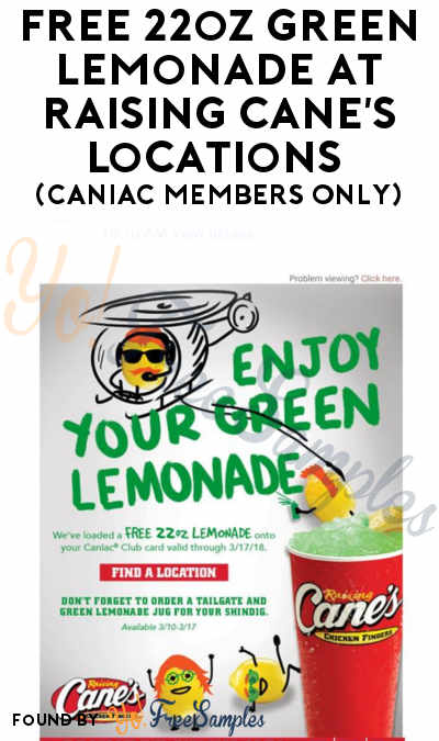 FREE 22oz Green Lemonade At Raising Cane's Locations (Caniac Members Only)