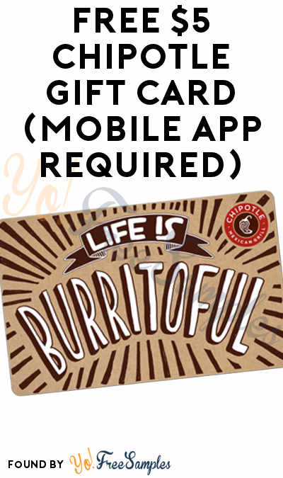 image about Chipotle Printable Coupon known as Absolutely free $5 Chipotle Reward Card (Cellular Application Demanded) - Yo! Absolutely free