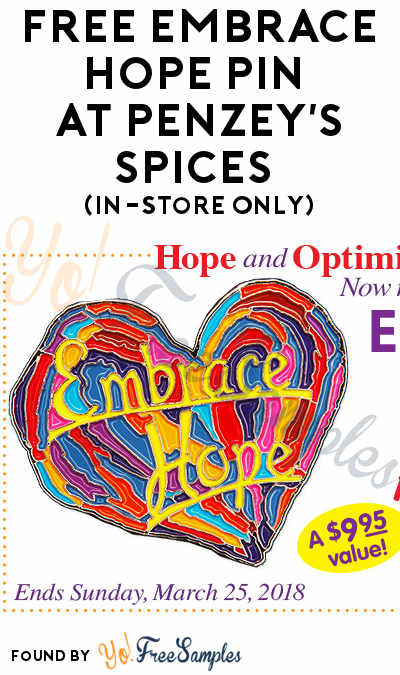 FREE Embrace Hope Pin At Penzey's Spices (In-Store Only)