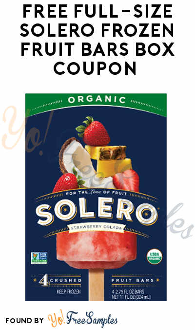 FREE Full-Size SOLERO Frozen Fruit Bars Box Coupon