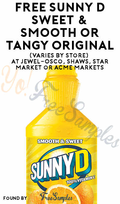 FREE Sunny D Sweet & Smooth or Tangy Original (Varies By Store) At Jewel-Osco, Shaws, Star Market or Acme Markets