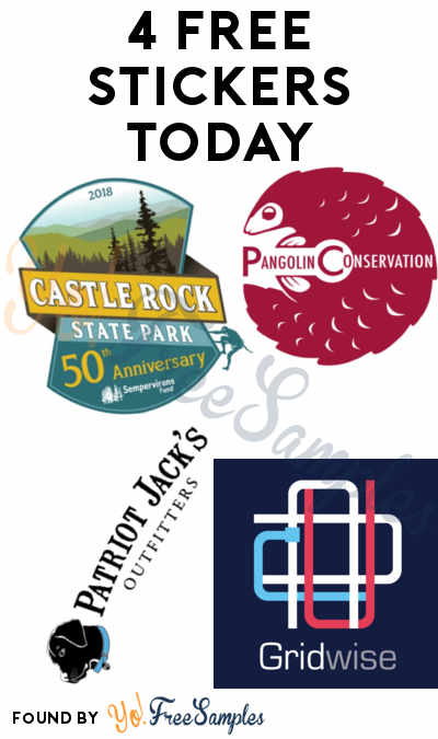 4 FREE Stickers Today: Gridwise Sticker, Pangolin Conservation Decal, Castle Rock Sticker & Patriot Jacks Outfitters Stickers