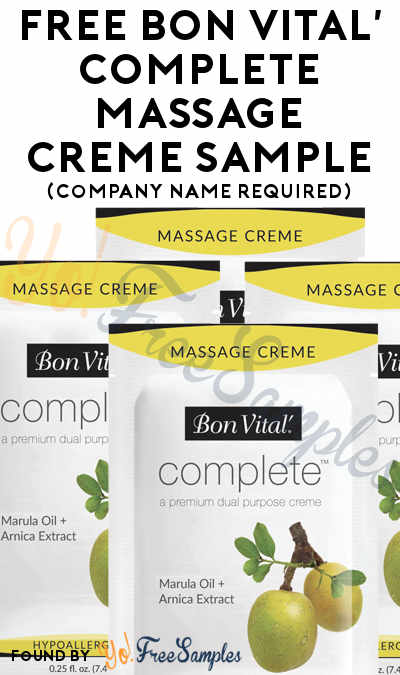 FREE Bon Vital' Complete Massage Creme Sample (Company Name Required)