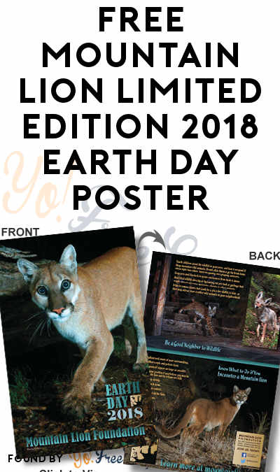 FREE Mountain Lion Limited Edition 2018 Earth Day Poster