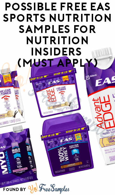 Possible FREE EAS Sports Nutrition Samples For Nutrition Insiders (Must Apply)